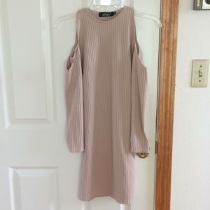 Motel ribbed cold shoulder dress